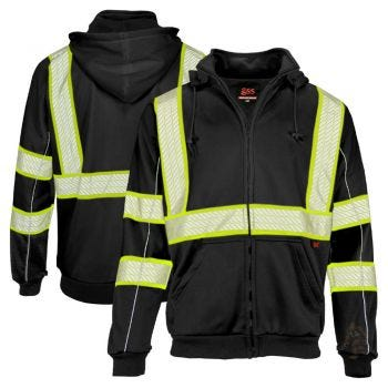 GSS Safety 7513 Onyx Series Enhanced Visibility Full-Zip Hoodie Sweatshirt
