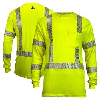 National Safety Apparel TEEY2LSPC3 Vizable FR Class 3 Dual Hazard CAT 2 Long Sleeve Segmented Safety T-Shirt