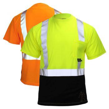 Radians ST11B-2 ANSI Class 2 Short Sleeve Black Bottom T-Shirt