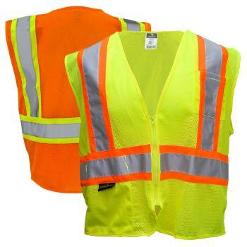 Radians SV22-2 Class 2 Hi Vis Economy Mesh Zippered Contrast Safety Vest