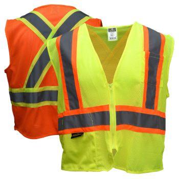 Radians SV22X Class 2 X-Back Economy Mesh Safety Vest | Lime Front, Orange Back