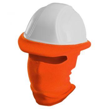 Ribbed Knit Polyester Full Face Hard Hat Tube Liner Orange