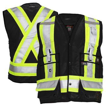 Work King S313 Class 1 Surveyor's Black Safety Vest