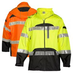 ML Kishigo RWJ106 ANSI Class 3 Black Series Hi Vis Rain Jacket