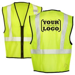 Hi Vis Class 2 Economy Single pocket Zippered Mesh Vest with 1-Color Back Imprint