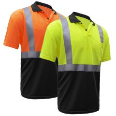 GSS Safety 5003/5004 HiVis Class 2 Black Bottom Polo Shirt