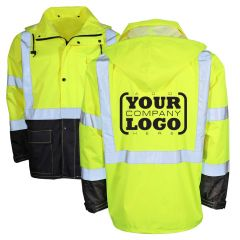 Hi Vis Class 3 Rain Coat Black Bottom with 1-Color Back Imprint | Front