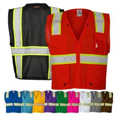 Kishigo B100 Series Enhanced Visibility Multi-Pocket Mesh Identification Vest
