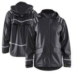 Blaklader 4317 Enhanced Visibility PU Coated Hooded Reflective Rain Jacket