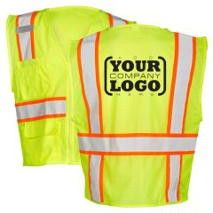 Hi Vis Class 2 Contrast Multi-Pocket Vest with 1-Color Back Imprint