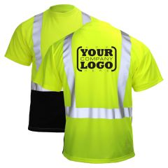 Hi Vis Class 2 Short Sleeve Black Bottom T-Shirt with 1-Color Back Imprint