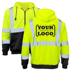 Hi Vis Class 3 Black Bottom Zippered Sweatshirt with 1-Color Back Imprint
