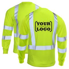 Hi Vis Class 3 Long Sleeve T-Shirt with 1-Color Back Imprint