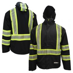 DeWalt DRW11 Class 1 HiVis Lightweight Ripstop Waterproof Raincoat