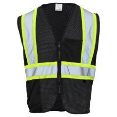 Enhanced Visibility 2 Pocket Mesh Contrast Identification Safety Vest   Black, Front
