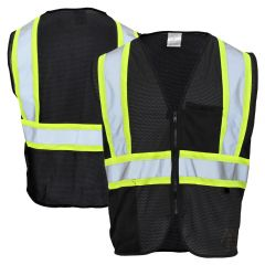 Enhanced Visibility 2 Pocket Mesh Contrast Identification Safety Vest | Black