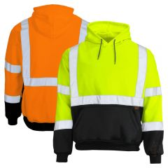 GSS Safety 7001/7002 Class 3 HiVis Black Bottom Pullover Hoodie Sweatshirt