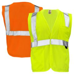 GSS Safety 1003/1004 Class 2 HiVis Mesh Hook & Loop Safety Vest |Lime Front, Orange Back