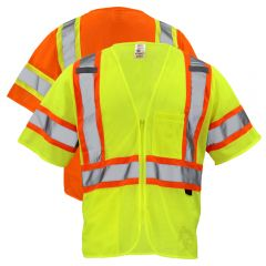 GSS Safety 2005/2006 Class 3 HiVis Contrast Mesh Zippered Safety Vest