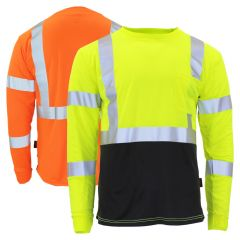 GSS Safety 5113/5114 Class 3 HiVis Long Sleeve Black Bottom Safety T-Shirt