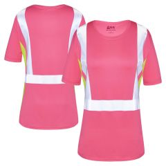 GSS Safety 5126 Enhanced Visibility Hi Vis Pink/Lime Ladies Short Sleeve Safety T-Shirt