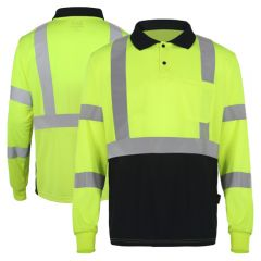 GSS Safety 5507 Class 3 HiVis Long Sleeve Black Bottom Safety Polo