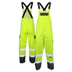GSS Safety 6805 Class E HiVis Black Bottom Safety Rain Bibs