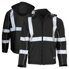 GSS Safety 7517 Enhanced Visibility Hooded Black Softshell Safety Jacket