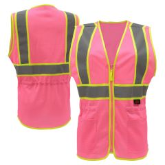 GSS Safety 7806 Pink Series Enhanced Visibility Hi Vis Pink Ladies Fit Mesh Safety Vest