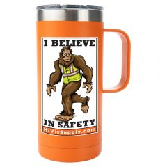 "HiVis Supply ""I Believe in Safety"" 16oz Stainless Steel Coffee Mug"