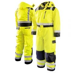 HiVis Class 3 PU Coated Seam Sealed Insulated Safety Coverall