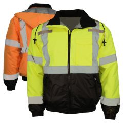 HiVis Class 3 PU Coated Quilted Black Bottom Bomber Jacket