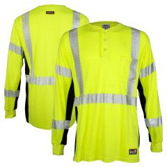 ML Kishigo F594 Class 3 HiVis FR HRC 2 Long Sleeve Henley Safety T-Shirt