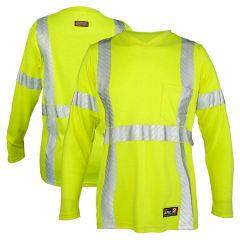 Kishigo F615 Class 3 HiVis FR HRC 2 Long Sleeve Women's V-Neck Safety T-Shirt