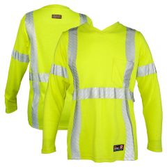 ML Kishigo F615 Class 3 HiVis FR HRC 2 Long Sleeve Women's V-Neck Safety T-Shirt