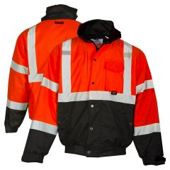 ML Kishigo JS132 Class 3 HiVis Red Fleece Lined Ripstop Bomber Jacket