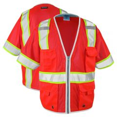 ML Kishigo 1750 Brilliant Series Class 3 HiVis Red Heavy Duty Safety Vest