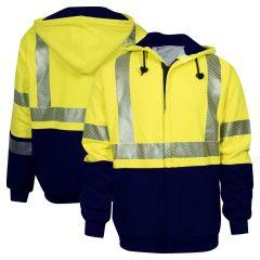 National Safety Apparel Vizable FR C21HCW Class 3 CAT 2 Deluxe Zip Sweatshirt