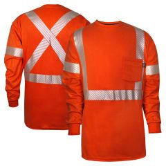 National Safety Apparel C54VRLSPCX2 Vizable FR Enhanced Vsibility Cotton HRC 2 Long Sleeve Segmented Safety T-Shirt