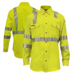 National Safety Apparel HiVis FR Class 3 Vented Button Down Work Shirt