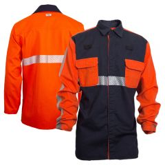 National Safety Apparel FR Enhanced Visibility HRC 2 Long Sleeve Segmented Foundry Work Shirt