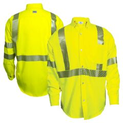 National Safety Apparel SHRTV3C3 Vizable FR Class 3 HRC 2 Long Sleeve Segmented Button Down Work Shirt