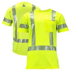 National Safety Apparel TEEY2PC3 Vizable FR Class 3 Dual Hazard HRC 2 Short Sleeve Segmented Safety T-Shirt