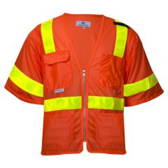 National Safety Apparel Vizable VNT8151 Class 3 HiVis Deluxe Micro Mesh Safety Road Vest   Front