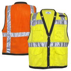 National Safety Apparel Vizable VNT9847 Class 2 HiVis Snap Closure Mesh Safety Vest