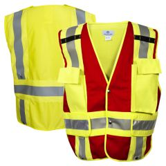 National Safety Apparel Vizable VNT8383R Class 2 HiVis Red Button Closure Solid Responder Safety Vest