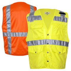 National Safety Apparel Vizable Class 2 HiVis Snap Closure Solid Safety Surveyor Vest