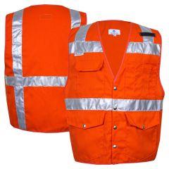 National Safety Apparel Vizable VNT9752 Enhanced Visibility HiVis Button Closure Solid Safety Surveyor Vest