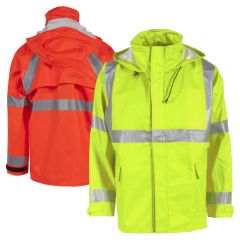 Neese 217AJ Class 3 HiVis FlexArc HRC 2 PU Coated FR Cotton Safety Rain Jacket