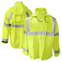Neese 227AJ Class 3 HiVis Dura Arc 1 FR HRC 1 PVC on Nomex Safety Rain Jacket